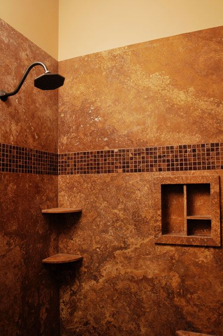 Solid Stone Shower Walls With No Grout Or Seams Tile