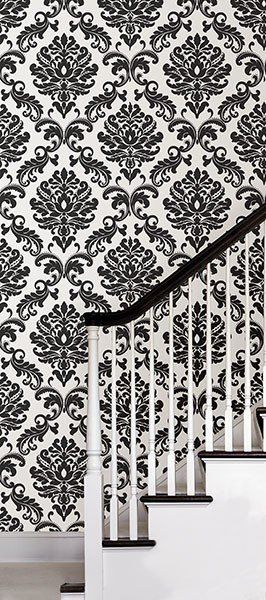 Ariel Black And White Damask Peel And Stick Wallpaper Peel And Stick Wallpaper Feature Wall Wallpaper Removable Wallpaper