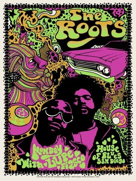 Funky Psychedelic groovy Roots poster by Darren Grealish