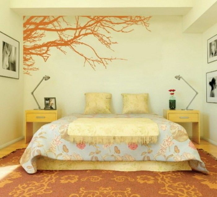 Wall Paint Design For Bedroom photo design bed Pinterest