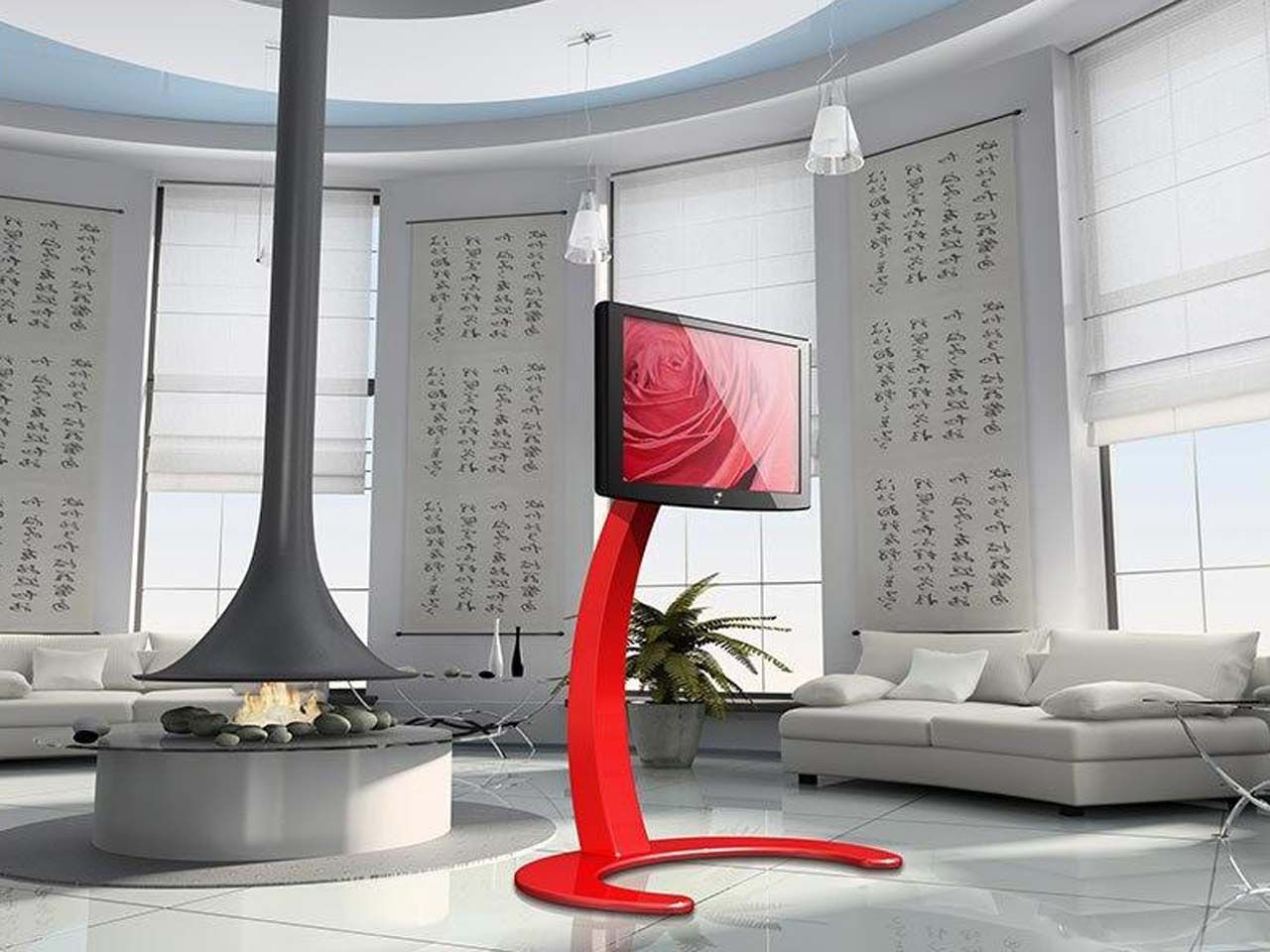 stunning white rooms   Stunning White Living Room Red Tv Stand