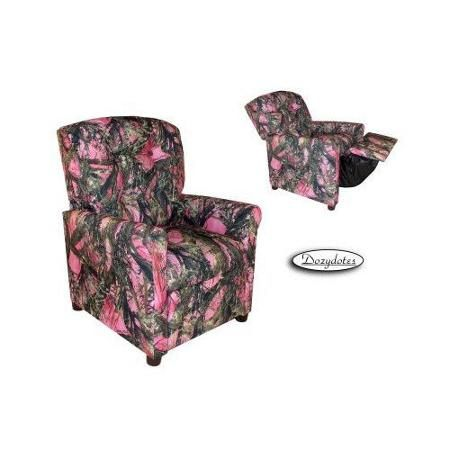 Dozydotes Four Button Pink Camouflage Cotton Fabric Kids Recliner