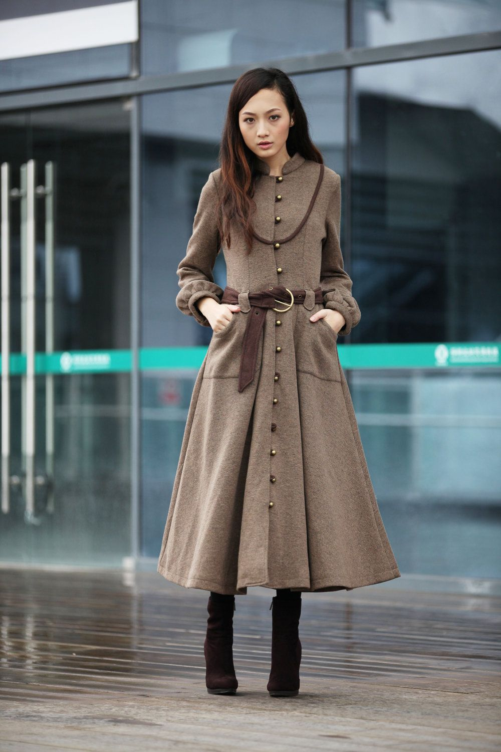 Camel Cashmere Coat Long Sleeve Wool Jacket Big Sweep Maxi Wool ...