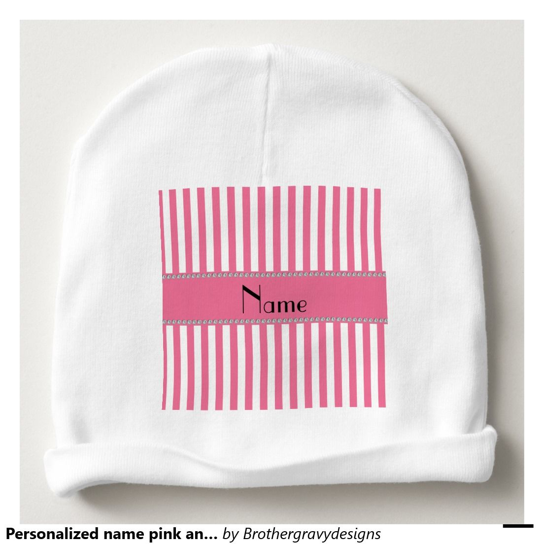 Personalized name pink and white stripes baby beanie