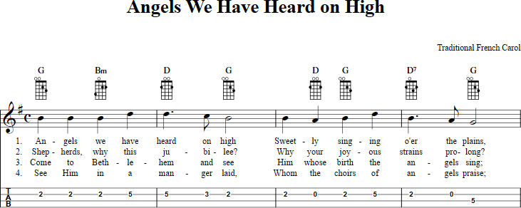 Angels We Have Heard on High sheet music for mandolin with chords ...