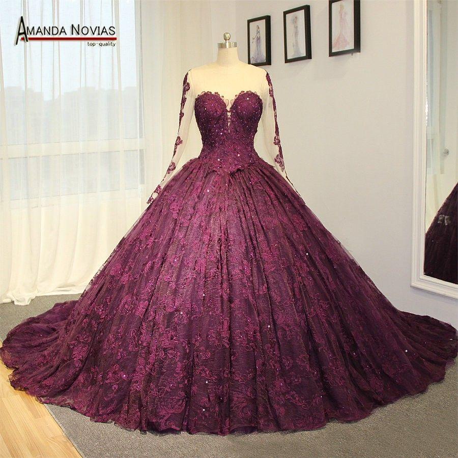 1678 559 Sheer Wedding Dress Long Sleeve Bridal Gown Purple Wedding Dress [ 900 x 900 Pixel ]