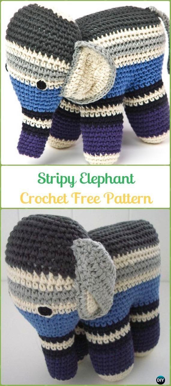 Crochet Stripy Elephant Amigurumi Free Pattern - Crochet Elephant ...