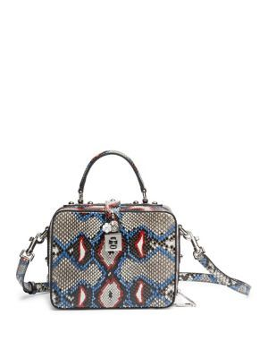 DOLCE & GABBANA Miss Dolce Python Top-Handle Bag. #dolcegabbana #bags #shoulder bags #hand bags #lining #leather #cotton #