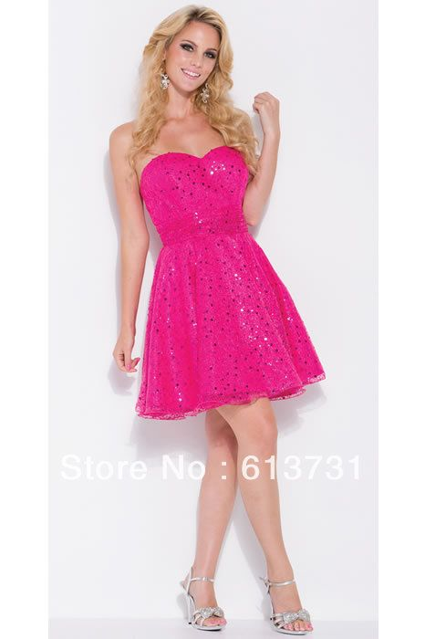 Basic Susie Q hot pink sweetheart dress |