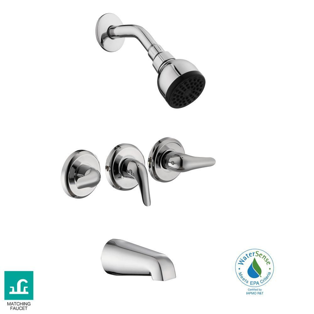Glacier Bay Aragon 3 Handle 1 Spray Tub And Shower Faucet In