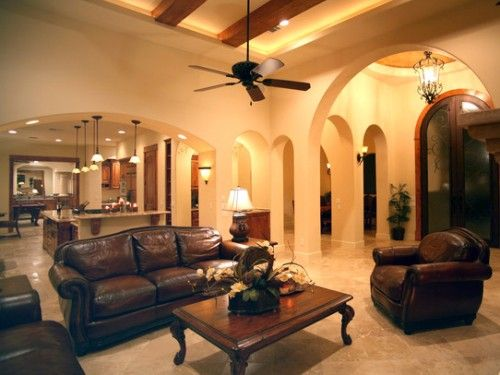Open Kitchen Living Room With Mediterranean Style