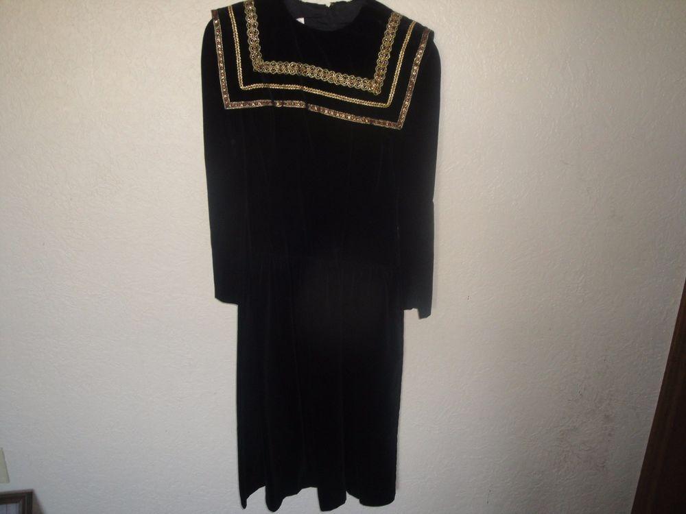 Vintage Gunne Sax Jessica  McClintock Soft Black Velvet Gold Trim Dress  Size 7 #GunneSax #EmpireWaist #Formalcocktail