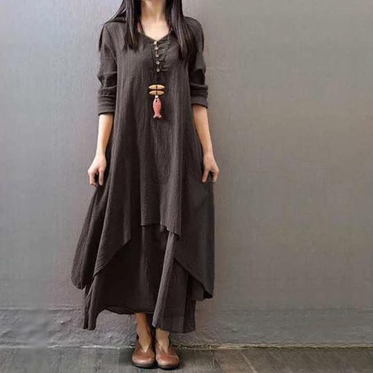 Womens Peasant Ethnic Boho Cotton Linen Long Sleeve Maxi Dress Gypsy Dress CA