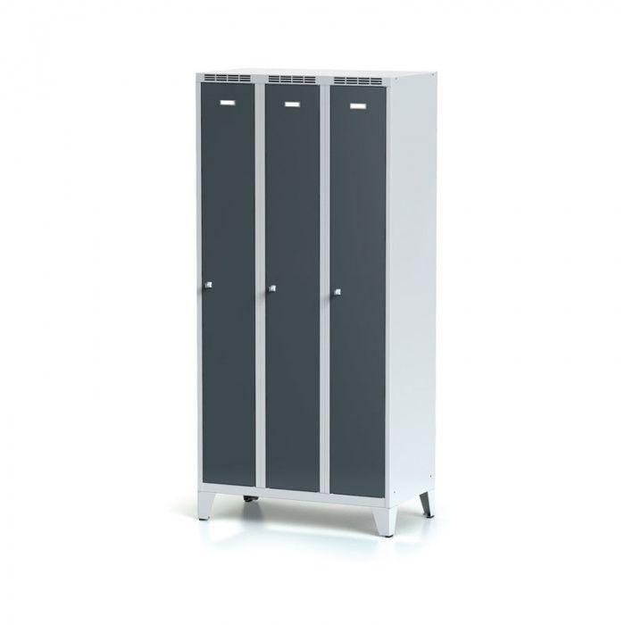 Metal wardrobe, 3-door on the legs, dark gray door, …