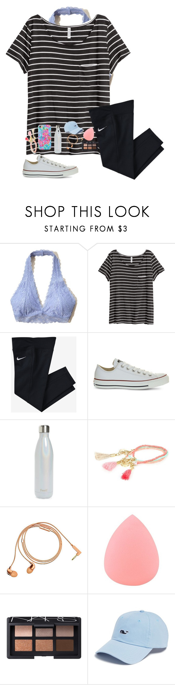"""Trying to workout but... didn't happen!!!!"" by mckenna1 ❤ liked on Polyvore featuring Hollister Co., H&M, NIKE, Converse, S'well, River Island, Happy Plugs, Zodaca, NARS Cosmetics and Vineyard Vines"
