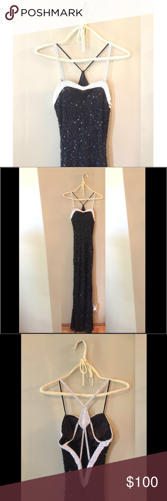 Prom Dress ✨ Black and white beaded sparkling prom dress. It looks slinky, but the material is stretchy. Beautiful back, has cups built in! Size 5/6. Unaltered. Scala Dresses Prom