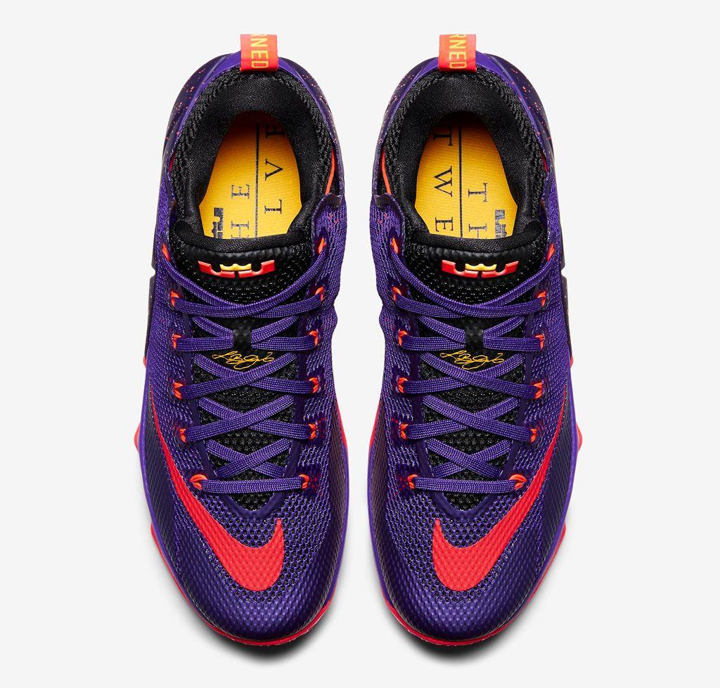 low priced af3c3 fd9aa Nike LeBron 12 Low Court Purple Bright Crimson Cave Purple Laser Orange