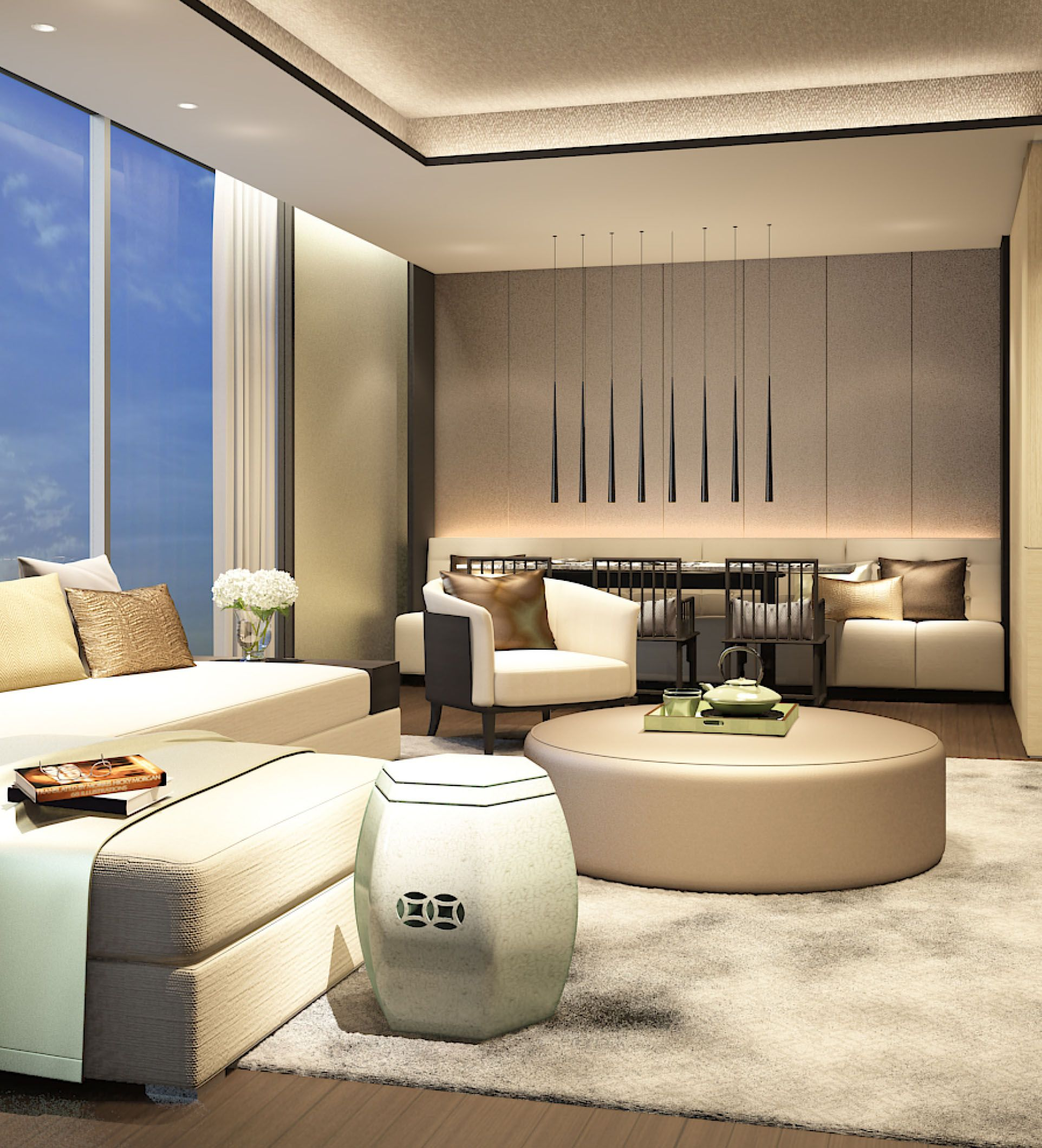 Interior Design Bright Living Rooms: SCDA Hotel & Mixed-Use Development, Nanjing, China