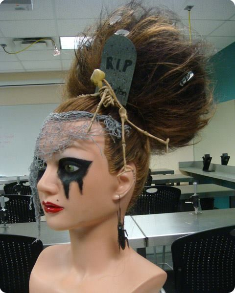 Here S An Easy Idea For Scary Hair This Halloween Just Blow Out Your Ponytail And Add Some Props Halloween Hair Kids Hairstyles Hair Styles