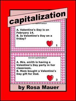 Valentines Day Capitalization  Sentences Worksheets and Teacher