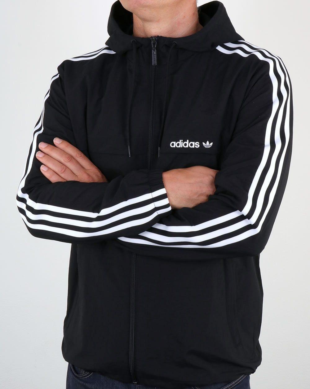 d954fb1701ef Adidas Originals 3 Striped Windbreaker Black