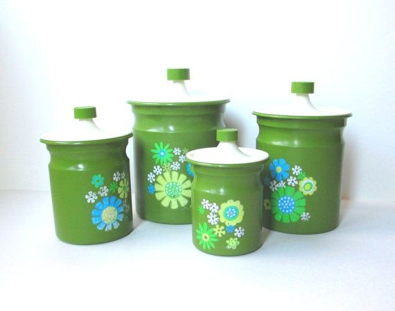 Vintage Metal Duck Canister Set | Kromex Canister Set Vintage Metal Kitchen  By .