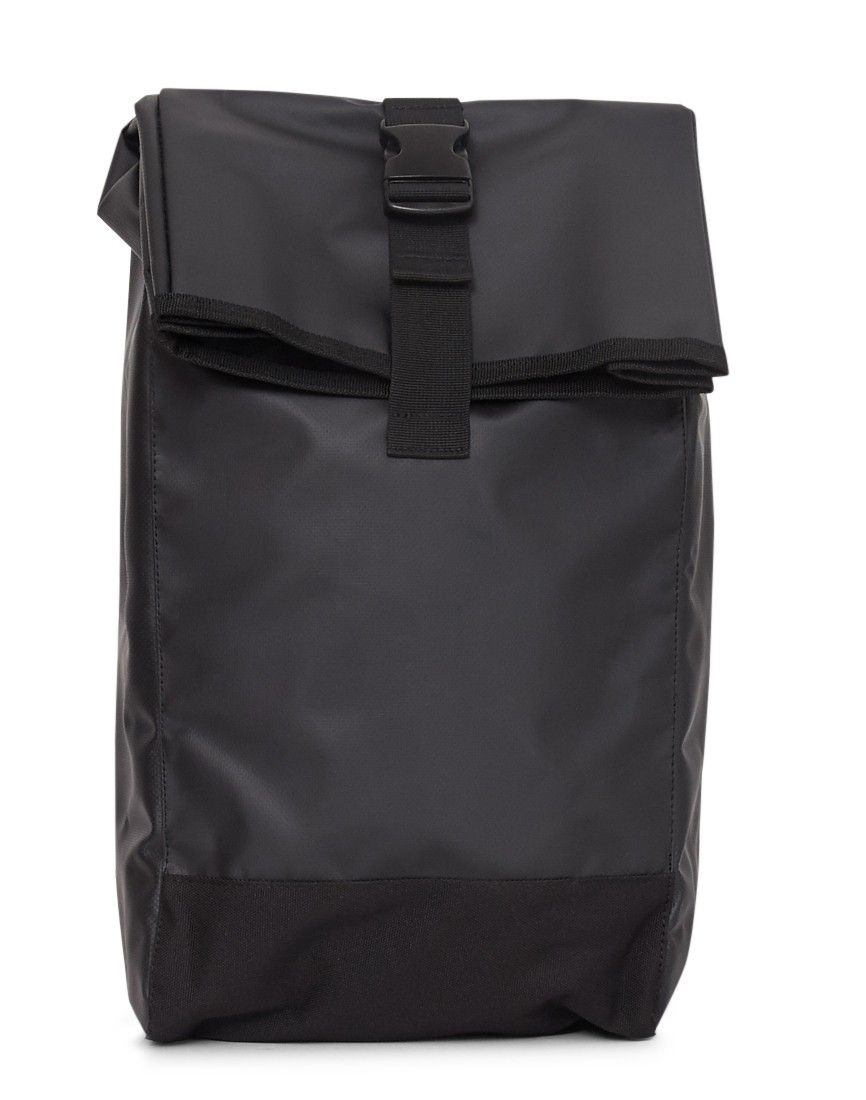 474016136e The Idle Man Waterproof Fabric Roll Top Backpack Black