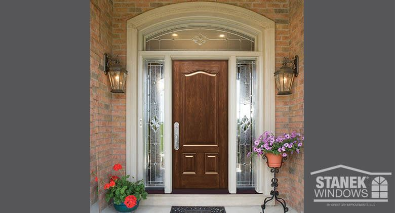ProVia® Signet series fiberglass entry door in American cherry high definition woodgrain finish. # & ProVia® Signet series fiberglass entry door in American cherry high ...