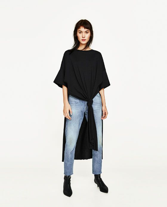 Image 3 of LONG KNOTTED T-SHIRT from Zara