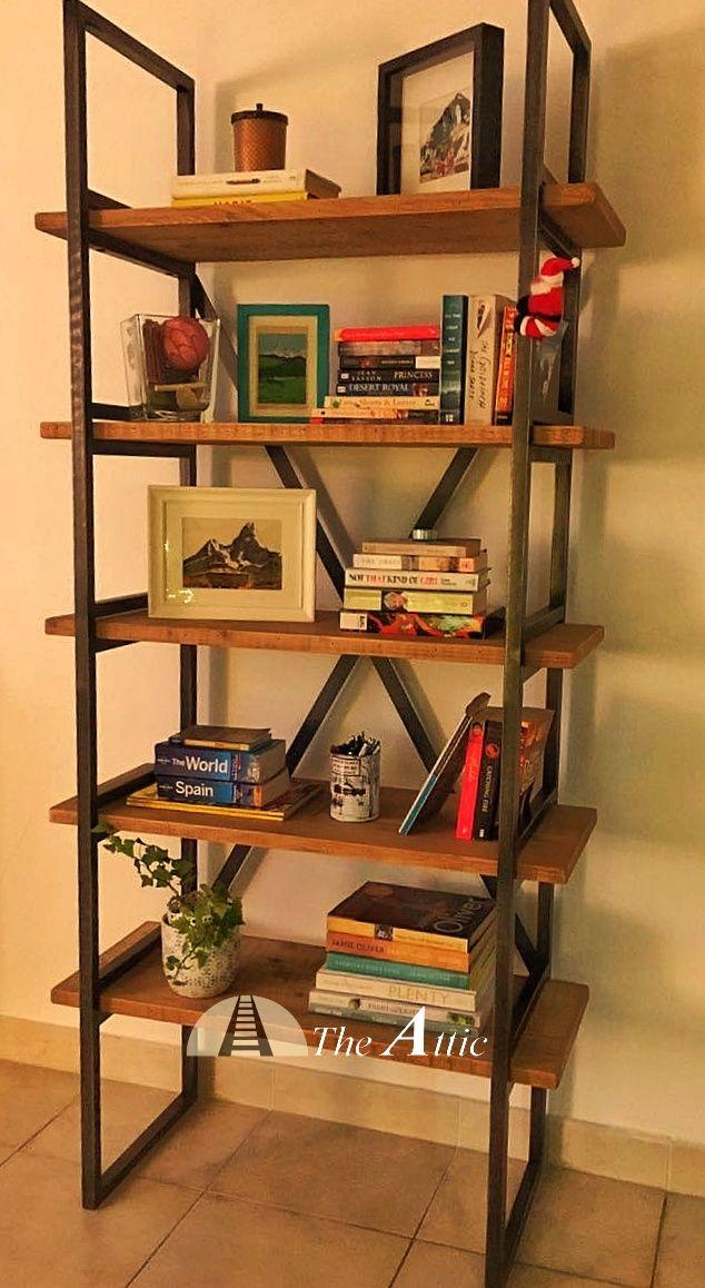 Industrial bookshelf x-frame  #livingroom #kitchen #study #Bookshelf #Furnituredesign #furniture #interiordesign #shelves #metal #Dubai #AUH #theatticdubai