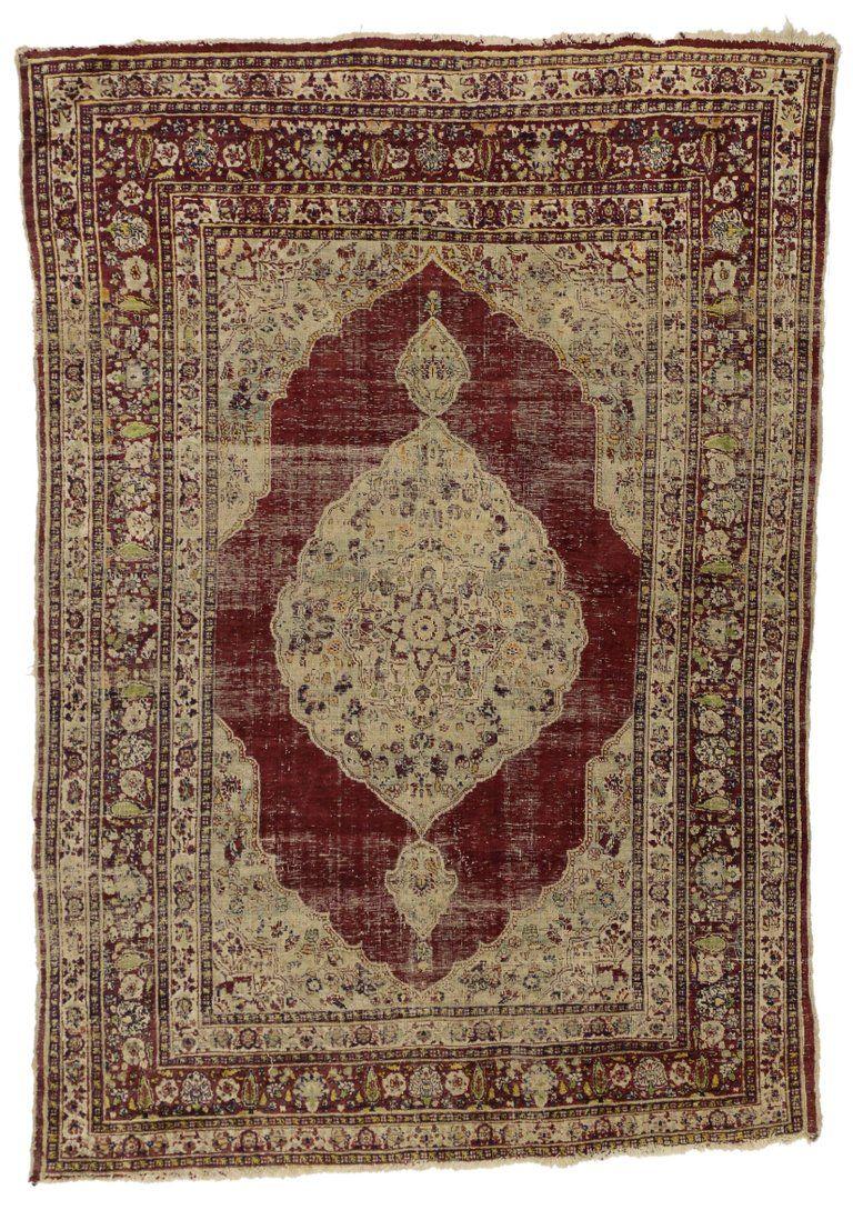 Distressed Vintage Persian Silk Tabriz Rug With Modern Industrial Style Modern Persian Rug Tabriz Rug Rugs