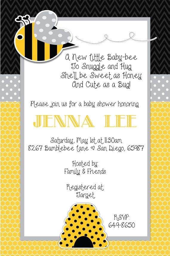 Bumble Bee Baby Shower Invitation by beenesprout on Etsy, $12.50 ...