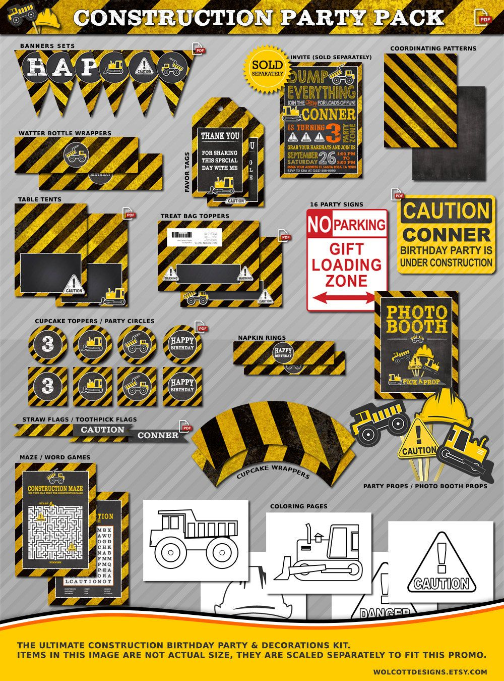 Construction Birthday Party Decorations Construction Birthday Construction Party Printables Construction