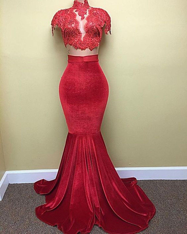 Red velvet pieces cap sleeves mermaid prom dress dress up