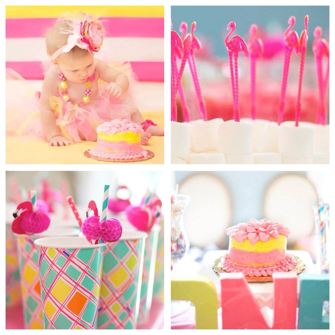 Pink And Blue Flamingo Birthday Party: Flamingo Themed First Birthday Party