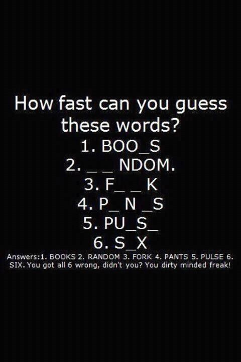 You got all 6 wrong, didn't you??  HAHA