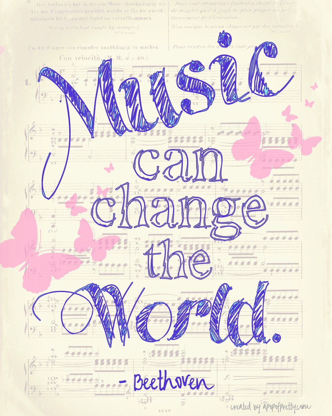 Music Can Change The World A Free Printable A Pop Of Pretty Home Decor Blog Music Quotes Music Lovers Music Love