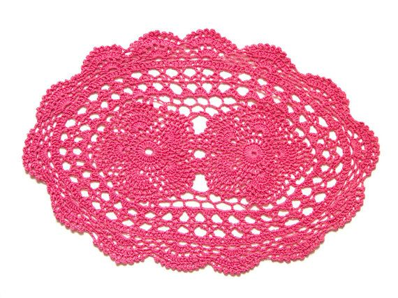 Pink Coral hand dyed Crochet oval Doily Vintage lacy doily