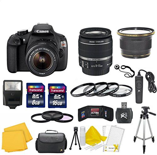 Canon EOS Rebel T5 18 MP CMOS Digital SLR Full HD Video Body with EF-S 18-55mm IS II Lens With 58mm High Definition Wide Angle Lens + Macro Close-Up Set + Auto Slave Flash + Filter Kit with 24GB Deluxe Accessory BundleDeluxe Accessory Bundle  http://www.lookatcamera.com/canon-eos-rebel-t5-18-mp-cmos-digital-slr-full-hd-video-body-with-ef-s-18-55mm-is-ii-lens-with-58mm-high-definition-wide-angle-lens-macro-close-up-set-auto-slave-flash-filter-kit-with-24gb-delux/