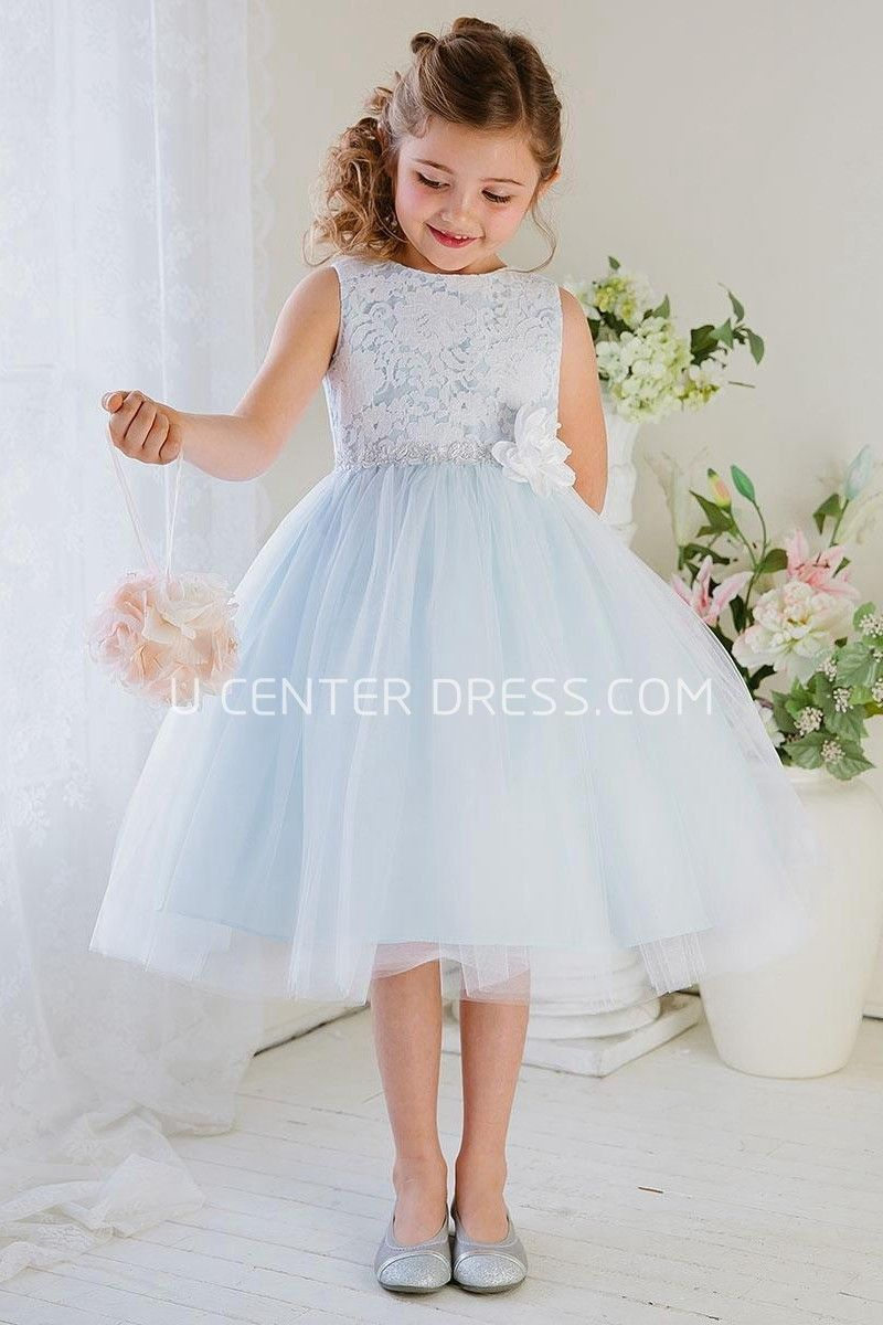 Floral tea length tiered tullelace flower girl dress lace 5795 beautiful sleeveless tea length tiered tulle lace light blue long junior bridesmaid ombrellifo Choice Image