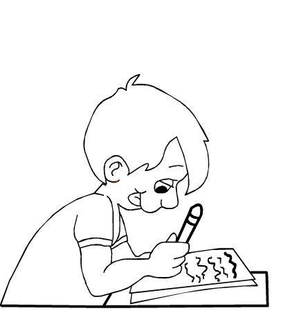 Niño escribiendo para colorear ~ Dibujos para Colorear Infantil ...