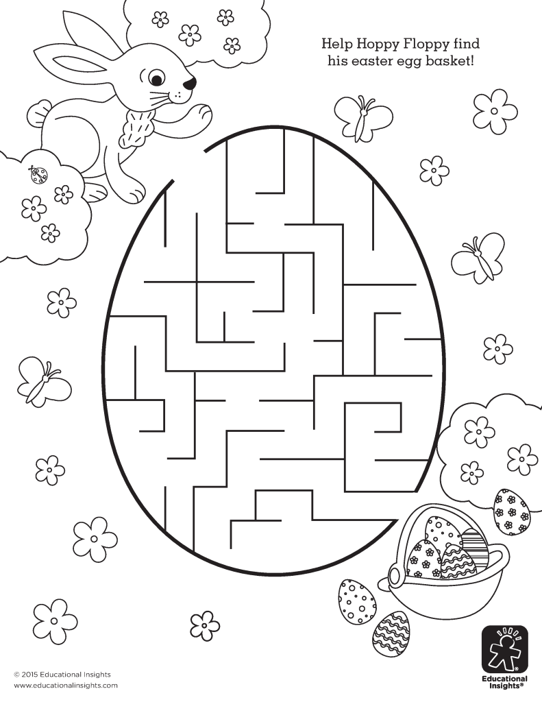 Free Easter Printable Coloring Page For Kids Help Hoppy Find His Egg Basket In This A Mazing Activity