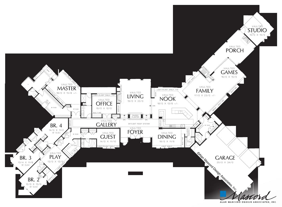 Main Floor Plan of Mascord Plan 1412 - The Harrisburg - Prairie Home ...