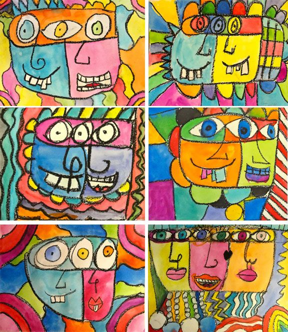 Rizzi art -James Rizzi is a dynamic artist/illustrator who lives in New York City. His animated art style, rich in detail and expression, has a massive following. The simple black lines with bold dashes of color make a perfect style for my students to imitate