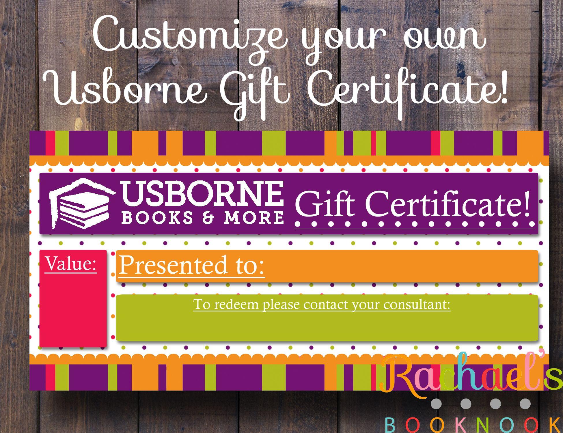 General Usborne Gift Certificate | Gift certificates, Certificate ...