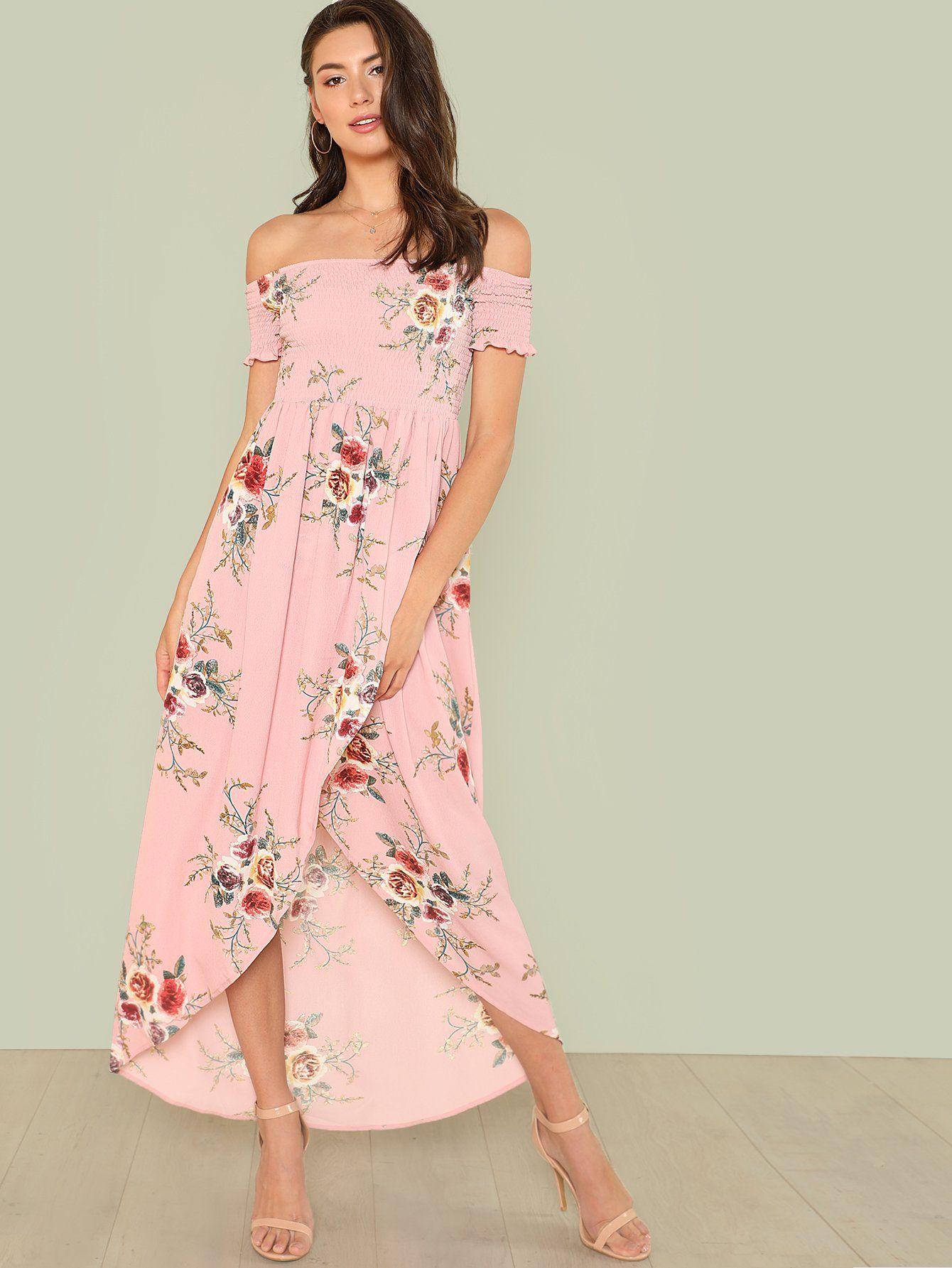 8d69adfa7b Off Shoulder Floral Overlap Dress -SheIn(Sheinside) | off shoulder ...