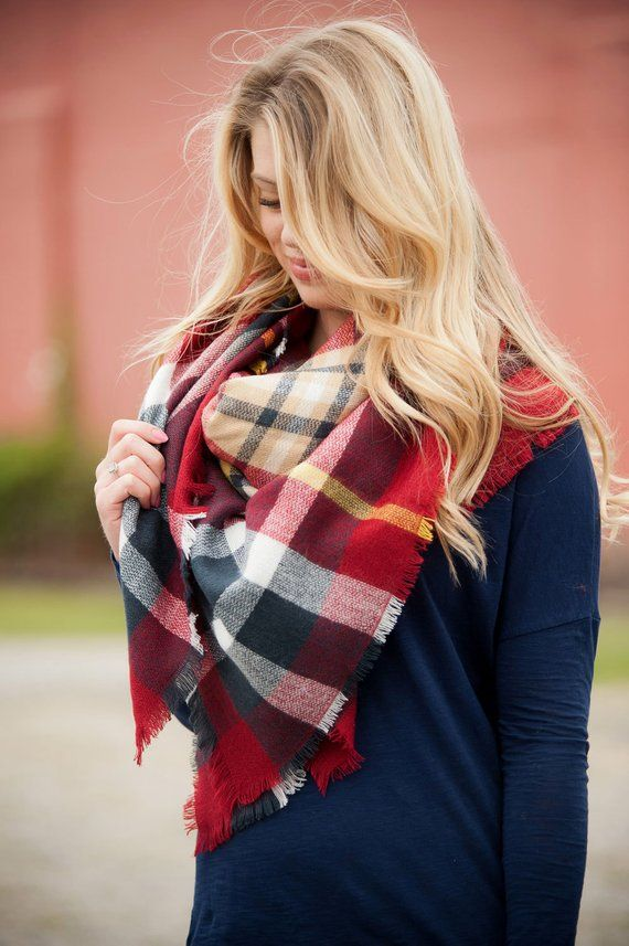 61db2b1335c56 Blanket Scarf | Red, Navy and Yellow | Products | Plaid blanket ...