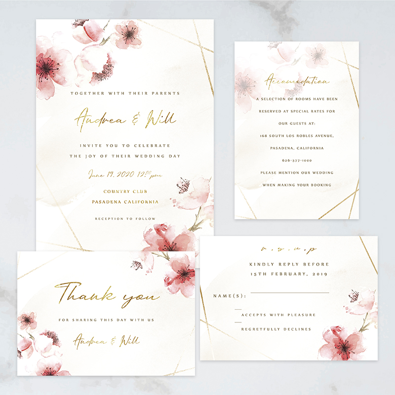 gray Pink White heart 10 INVITATIONS  round invitation fully customizable wedding color choice