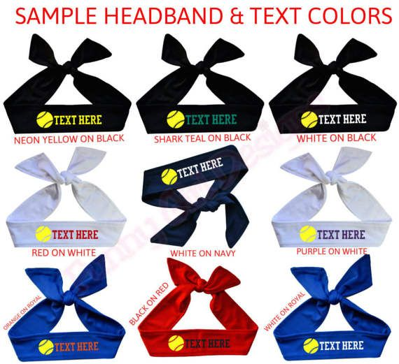 Design your own custom tie back sport headband! The vinyl letters and  numbers measure 1 in height and come in many colors. These are solid cotton tie  back ... 55ee95527cc