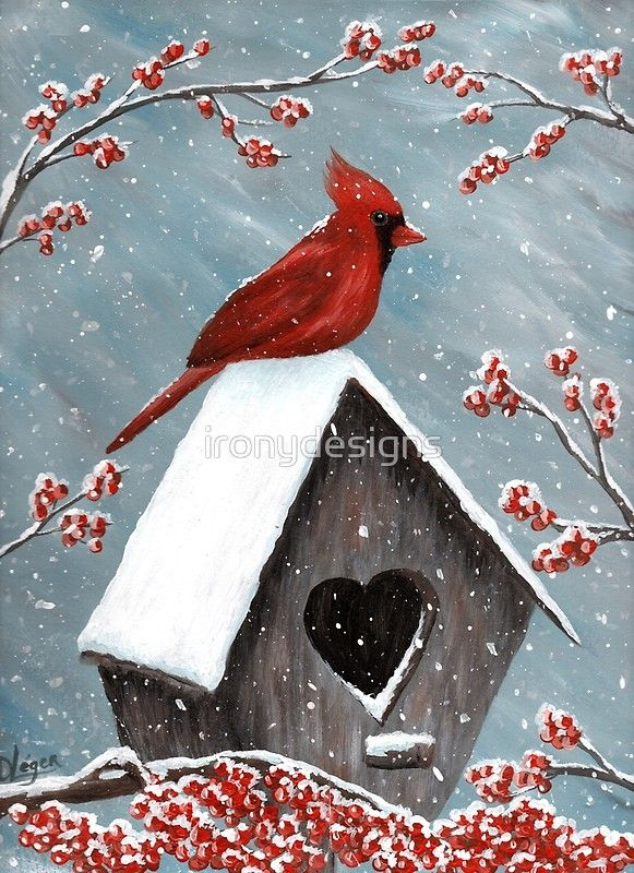 'Northern Cardinal Bird Painting' Greeting Card by ironydesigns #tolepainting